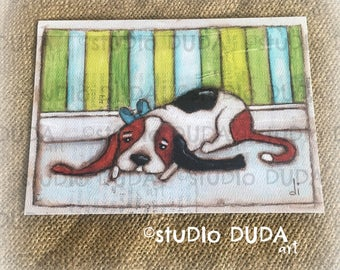 New!  STUDIO DUDA ART mini print/frameable greeting card  on velvety bright paper - Patiently Waiting - 5x7 print