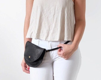 Leather Fanny Pack, Bum Bag, or Hip Bag- The Ester Fanny Pack in Black by Awl Snap