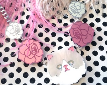 Persian Kitty Cat and Etched Roses Laser Cut Acrylic Necklace