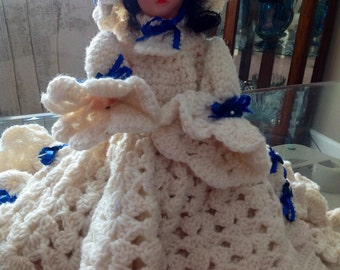 Large Sleepy Eyed Doll with Exquisite Crotched Dress Wedding Dress
