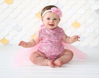 Romper - Tulle skirted, Skirted, Sequin Top Romper - Sequin Romper - Birthday Romper - Photoshoot - Pink Romper - Pink Sequin Romper