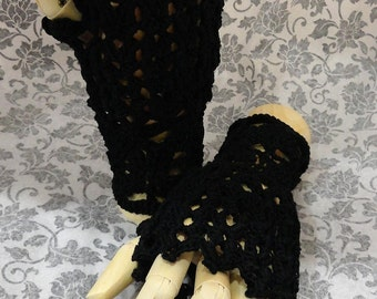 Black Steampunk Victorian Noir Punk Wiccan Lace Crochet Fingerless Gloves