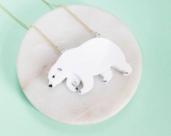 Polar Bear necklace - bear necklace - polar bear jewellery - polar bear jewelry - polar bear gift - polar bear pendant - White bear necklace