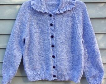Girl, size 10/12, Cardigan sweater with ruffled collar, Purple/white.