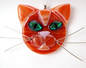 Orange striped cat with green eyes, cat glass ornament, cat lover, orange cat