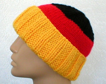 Watch cap, slouchy hat, brimmed beanie hat, gold red black stripes, ski snowboard, toque, skateboard, mens womens knit hat - Made to Order