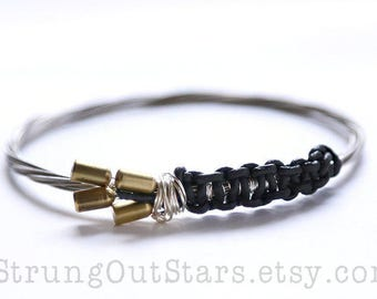 Strung-Out Guitar String Bangle - Fender Bullet strings with black leather
