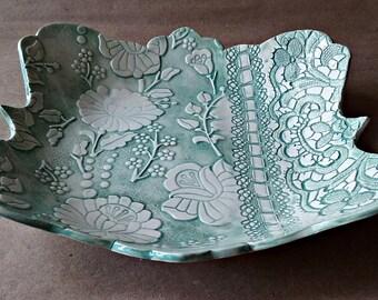 Ceramic Bowl  Pale Sea Foam Green 9 inches wide