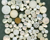 Vintage MOP Shell Lot of 90 - count em 50 with Shanks Mother of Pearl Buttons Various Variety 2944