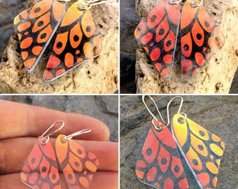 DICHROIC EARRINGS Translucent Red/Orange Butterfly Wings Hand Etched Fused Glass with Sterling Silver Hooks