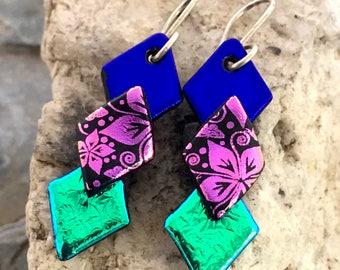 Pretty 3D Dichroic Glass Earrings