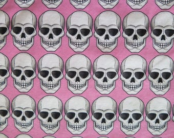 1 Yard Alexander Henry ROBOSKULL 2006 Pink Black Fabric Yardage