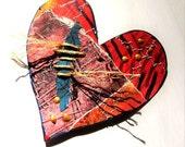 Embellished Hand Made Paper Hearts - set of 2 - Card making, Scrapbooking, Paper arts