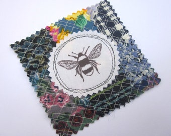 Fabric Patch, Quilt Block, Applique - BumbleBee