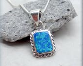 Rectangle Blue Opal Necklace Sterling Silver 925 October Birthstone Necklace Birthday Gift for Her Opal Pendant Everyday Jewelry (SN989)
