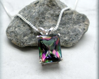 Mystic Topaz Necklace, Sterling Silver, Octagon Pendant, Gemstone Pendant, Rainbow Topaz Necklace, Gemstone Necklace,  Princess Cut SN984