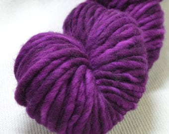 New Color Yarn Hollow Burly Hand Dyed Super Bulky Wool Yarn Single Ply Violent Violet Semi Solid 66 yards 4 ounces