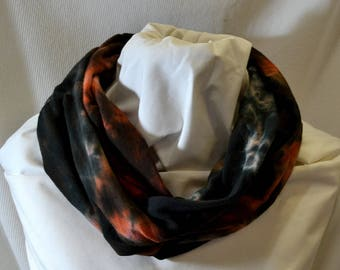 Hand Dyed Hemp Knit Infinity Scarf - Intense Colors that will Express Your Creativity, Soft Knit Fabric, Black and Rust