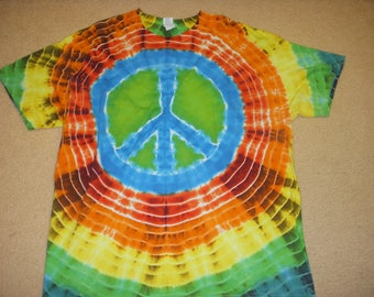 2XL peace sign tie dye tshirt, rainbow colors, XXL