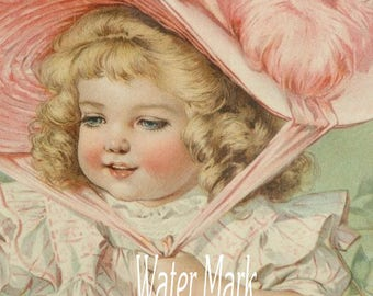 Maud Humphrey girl in beautiful pink bonnet*Digital download instant*  Frame,greeting cards, sales tags,sewing