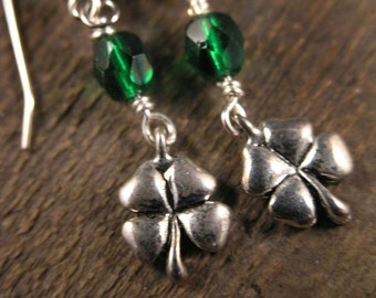 SALE St. Patrick's Day green luck of the Irish silver shamrock, horseshoe or wishbone handmade earrings
