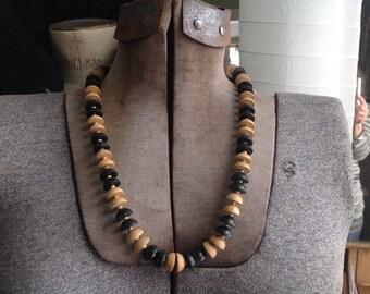 Vintage Wood Necklace, wooden Necklace, Black Natural Wood Necklace
