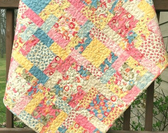 Baby Girl Quilt Pink Blue Yellow Nursery Bedding Crib Bedding