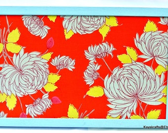 Orange Aqua Chrysanthemum Cork Board Cork Bulletin Board, 17x11 Tack Board Cork Pin Board Cork Message Board Lt Blue Frame Corkboard
