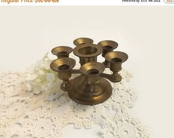 Solid Brass Candelabra, Vintage Small 7 Light Mini Candle Holder, Circular Arm Candle Stick