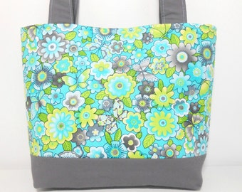 Aqua and Lime Medium Tote Bag, Butterfly and Flower Tote, Gray Tote Bag