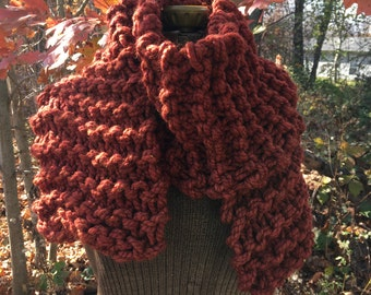 Rust Knit Scarf Super Chunky Knit Scarf Oversized Scarf