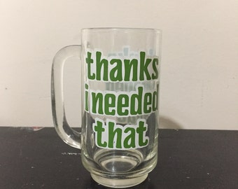 Vintage beer mug with green bubble writing