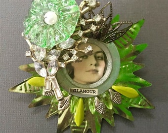 Jewelry brooch Christmas bling woman vintage rhinestones chandelier crystal images watch parts Czech beads OOAK