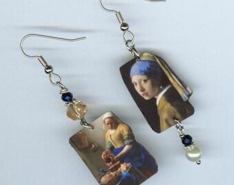 Girl with a Pearl Earring - Asymmetrical mismatched earrings - fine art artist gift - Johannes Vermeer Dutch painting The Little Street -