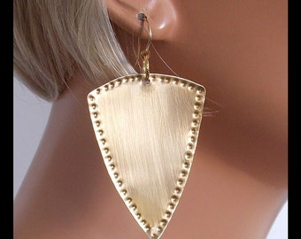 GOLDEN SHIELDS - Handforged Punched Bronze Shield Statement Earrings