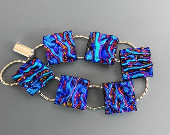 Deep Blue Dichroic Fused Glass Bracelet, Dichoric Glass Link Bracelet, Dichroic Glass Bracelet - Textured Blue and Purple Bracelet
