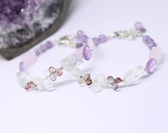Set of TWO ARIEL Sterling Silver Surrogacy Bracelets- Sapphire briolettes, Rose Quartz, Moonstone, Rock Crystal and Amethyst