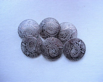 Six Vintage Paisly Designed Silver Luster on Clear Glass Buttons