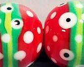 Holiday Bitty Balls--Handmade Lampwork Beads