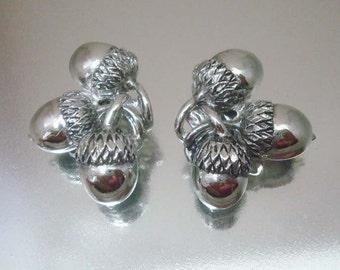 Silver Tone Triple Acorn Clip On Earrings Vintage Jewelry