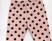 pink & black velvet polka dot leggings