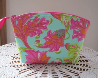Tabby Road Small Cosmetic Bag Essential Oils Clutch Zipper Purse  Eek Fabric - Marmalade Skies