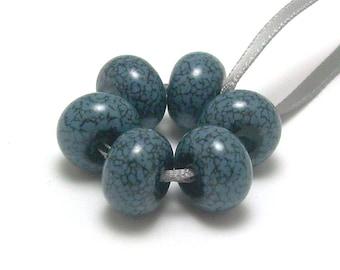 Slate Blue Denim - Handmade Lampwork Glass Beads SRA