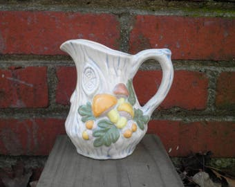 Vintage Woodland Mushroom Ceramic Pitcher Circa 1970s - Retro Toadstool Vase - Pastel Orange & Yellow Wild Mushroom Patch Storage Container