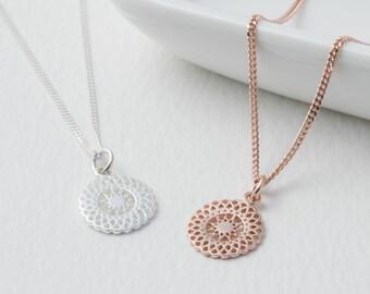 Sterling Silver And Rose Gold Sunburst Necklace