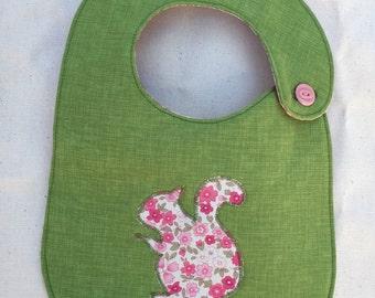 Floral Squirrel Infant Bib