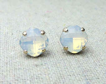 Swarovski Crystal White Opal Post Earrings Cushion Cut Square Earrings Bridal Jewelry Wedding Earrings Bridesmaids Gifts