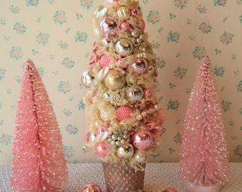 Ivory Bottle Brush Tree w/ PINK ROSES & Pearls!