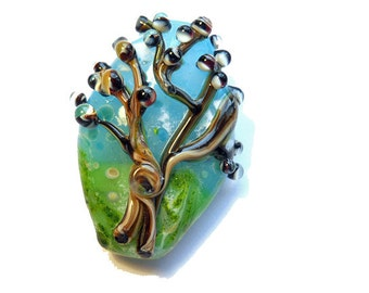 Aqua blue glass bead, 'Just Spring' tree necklace, lampwork glass pendant, organic focal glass orphan bead, glassbead, aqua and green tree
