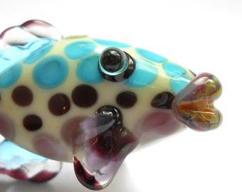 White & aqua fish bead pendant, Lampwork glass bead, 'Sparky' handmade art glass  jewelry supplies, designer ocean focal bead, SRAJD